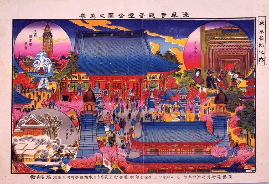 作品画像:東京名所之内 浅草寺観音堂公園之真景