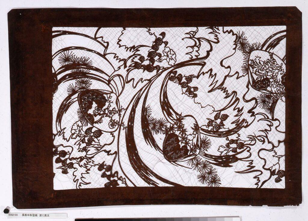 作品画像:長板中形型紙 波に貝文