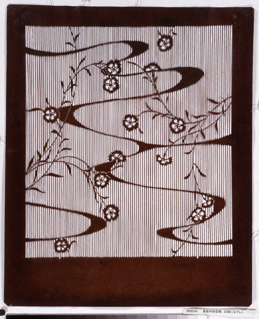 作品画像:長板中形型紙 立縞になでしこ