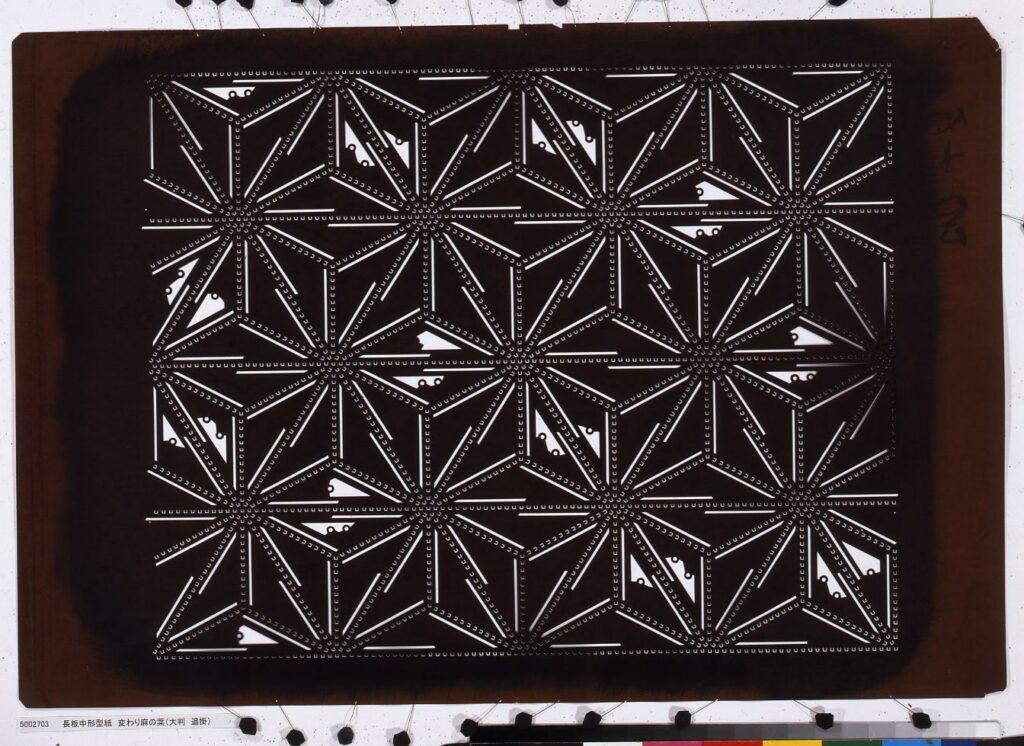 作品画像:長板中形型紙 変わり麻の葉(大判 追掛)