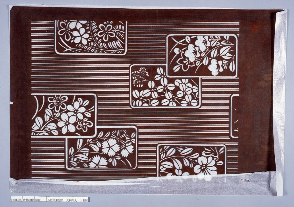 作品画像:長板中形型紙 大判糸入 大名縞に秋の花尽し