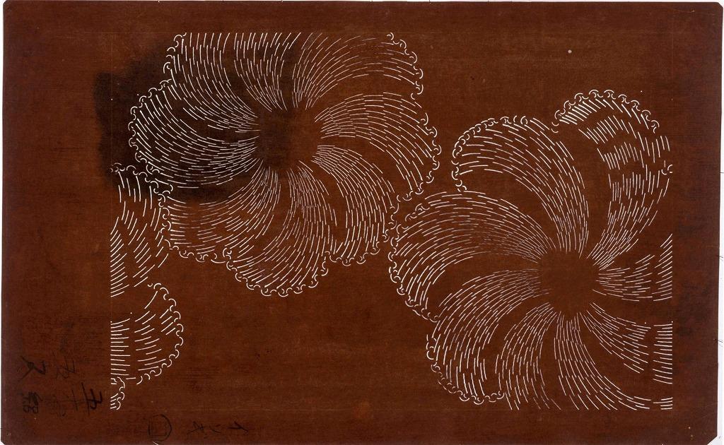 作品画像:長板中形型紙 波花(大判 追掛)