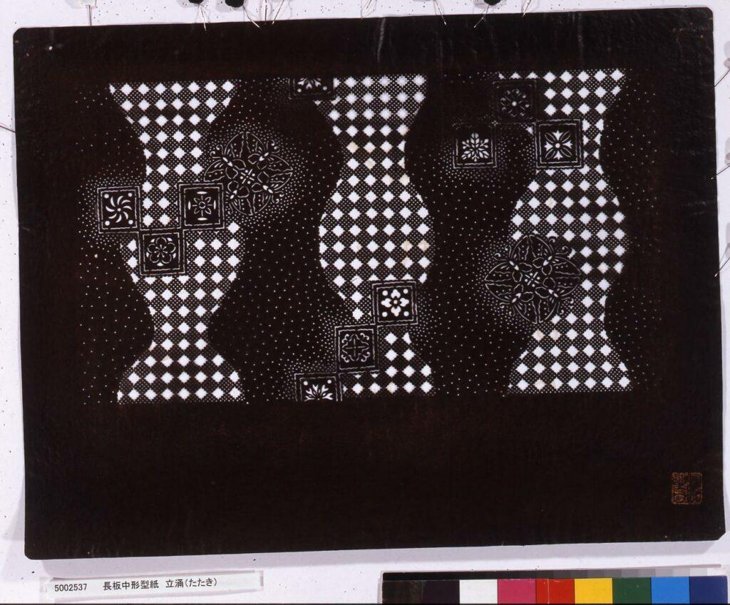 作品画像:長板中形型紙 立涌(たたき)