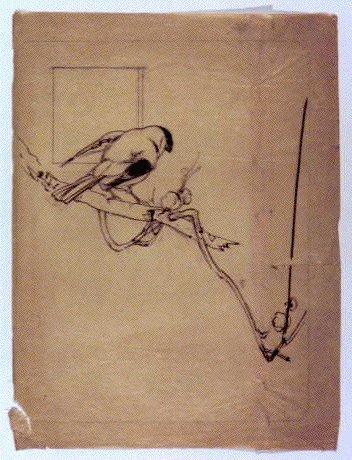 下絵  梅に小鳥