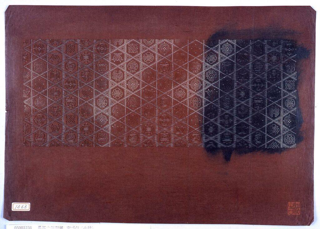 作品画像:長板中形型紙 宝づくし(小紋)
