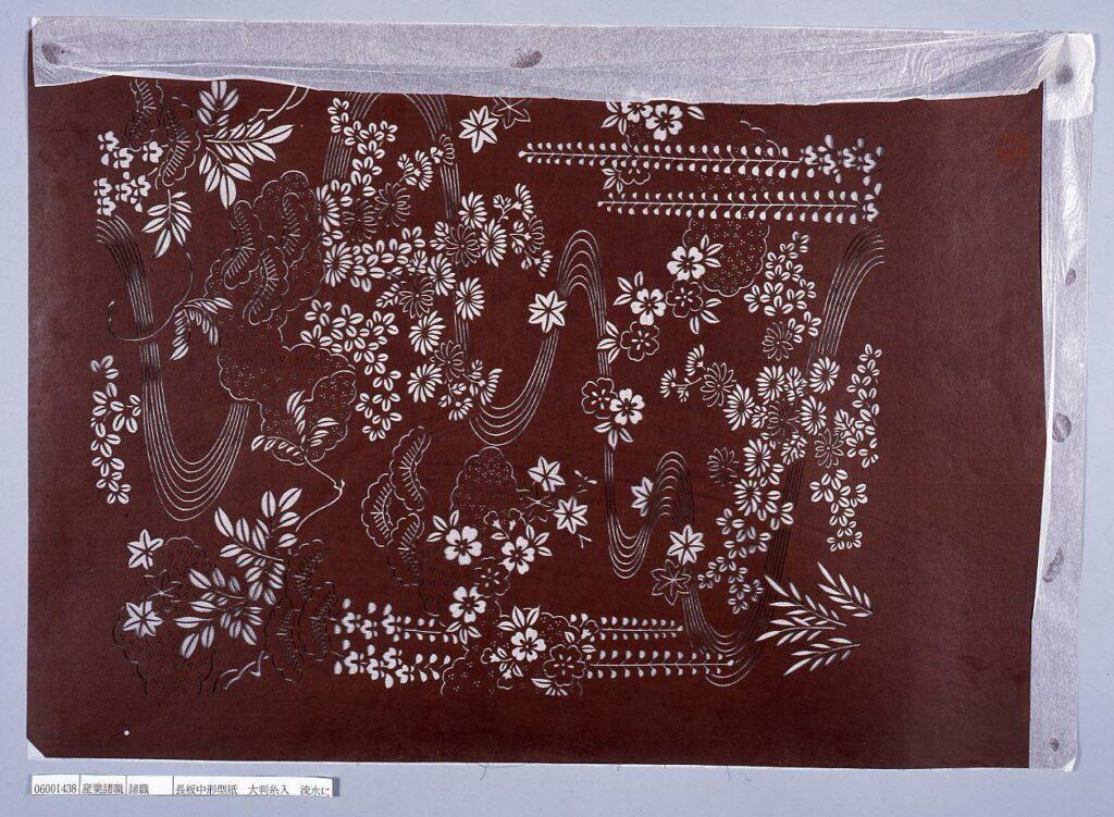 作品画像:長板中形型紙 大判糸入 流水に春秋草花文