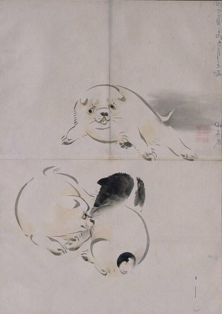作品画像:粉本 三匹の仔犬