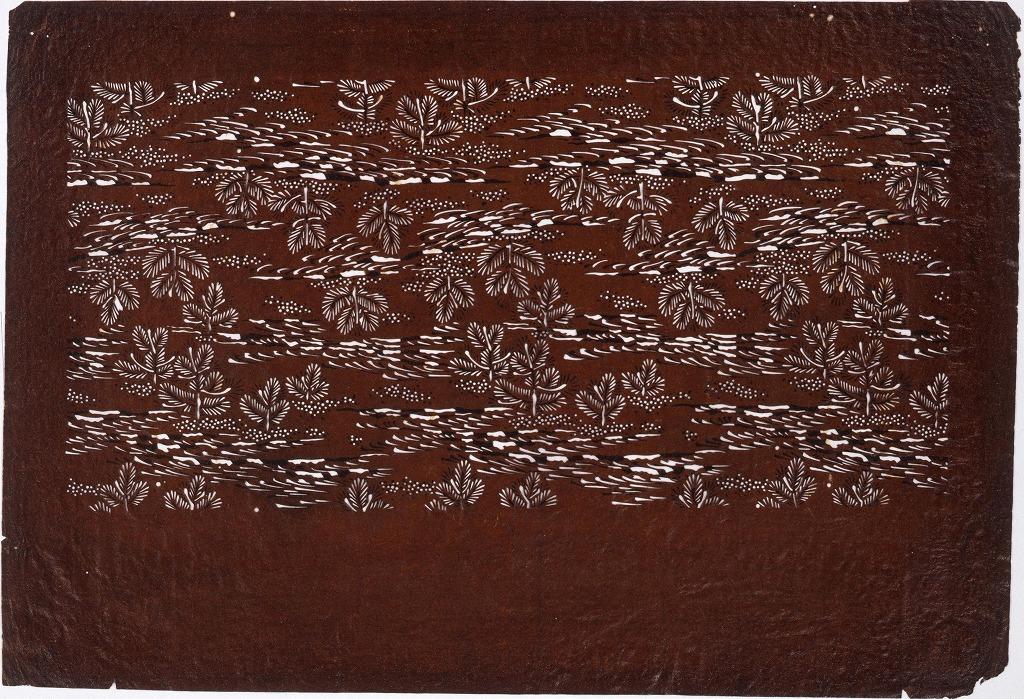 作品画像:長板中形型紙 浪に松 (小判 追掛)