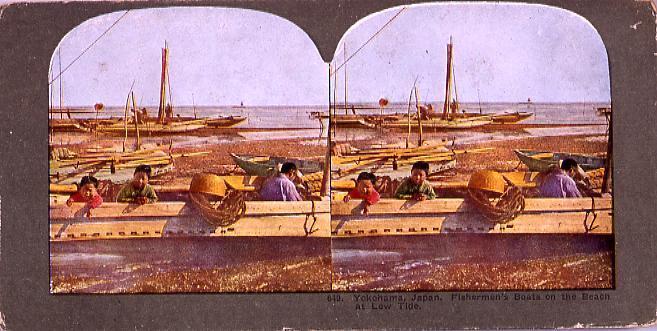 作品画像:Yokohama,Japan.Fishermen's Boats on the BeachAt Low Tide.649