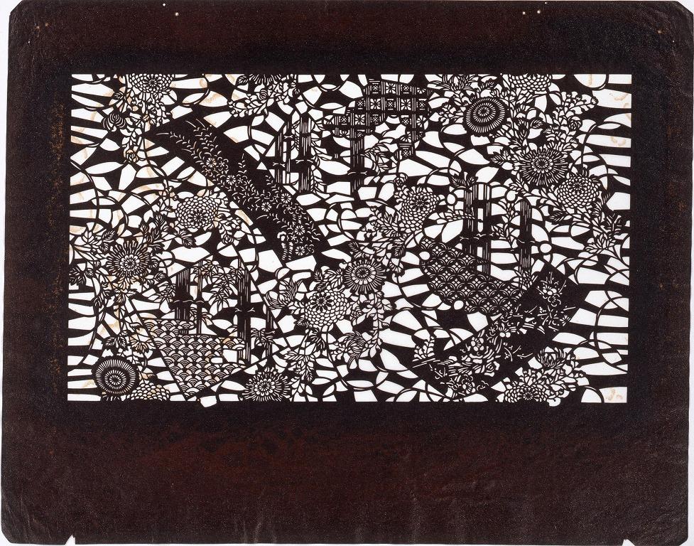 作品画像:長板中形型紙 菊に丹ざく (小判 追掛)