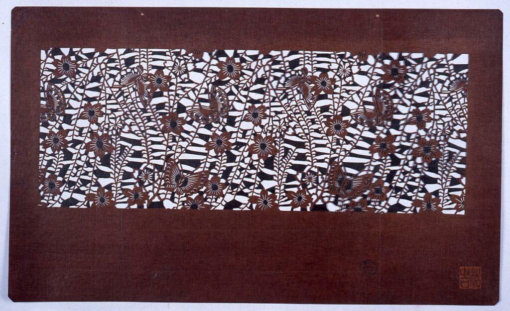 作品画像:長板中形型紙 桜に蝶 (小判 追掛)
