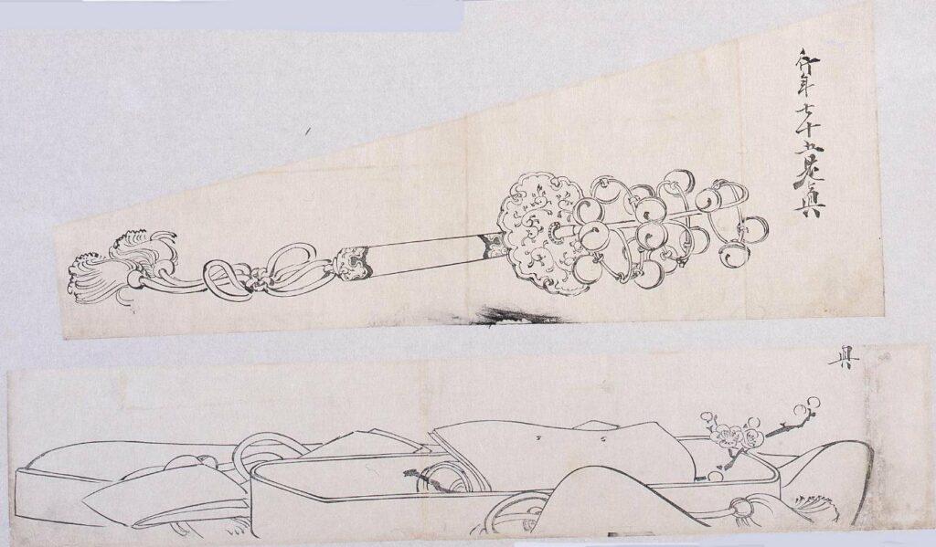 作品画像:墨版貼交 鈴、文箱に梅