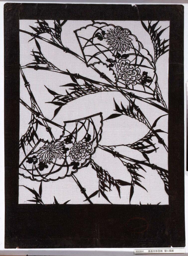 作品画像:長板中形型紙 笹に扇面