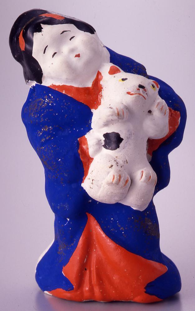 作品画像:今戸人形 猫抱おかめ
