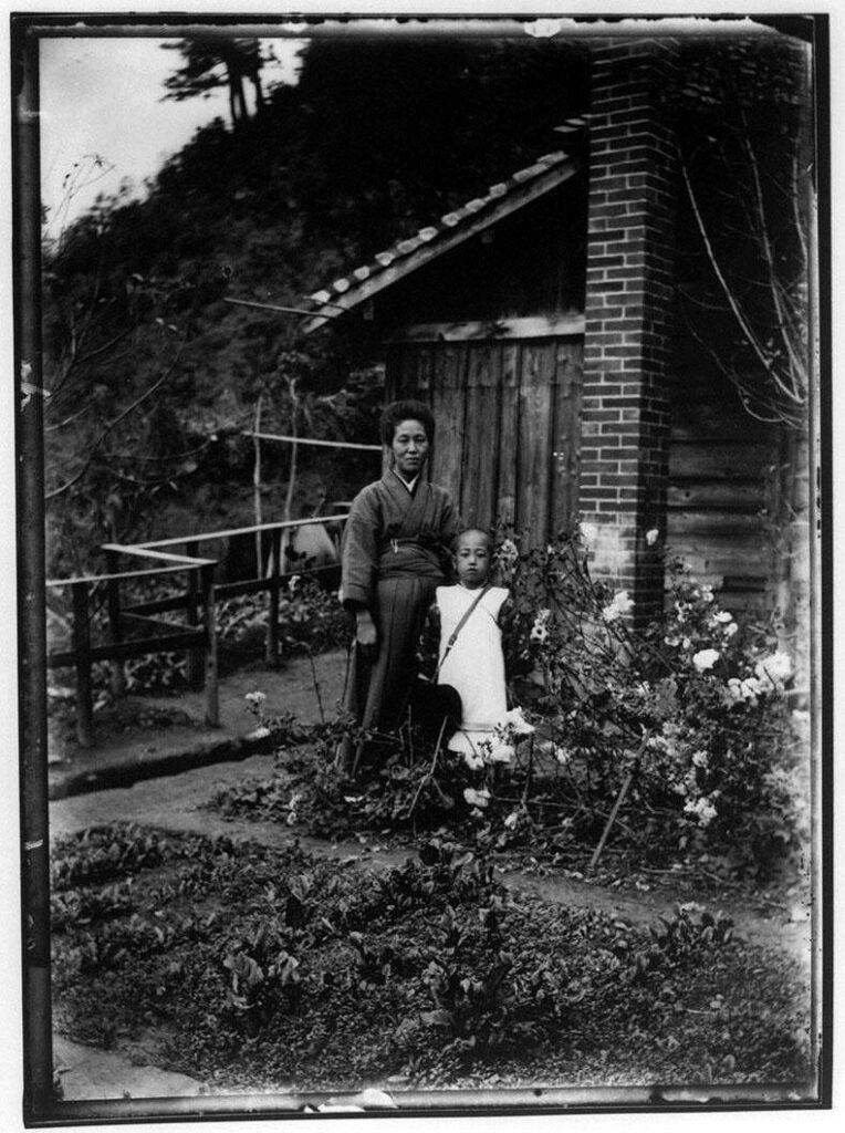 作品画像:菜園の女性と少年