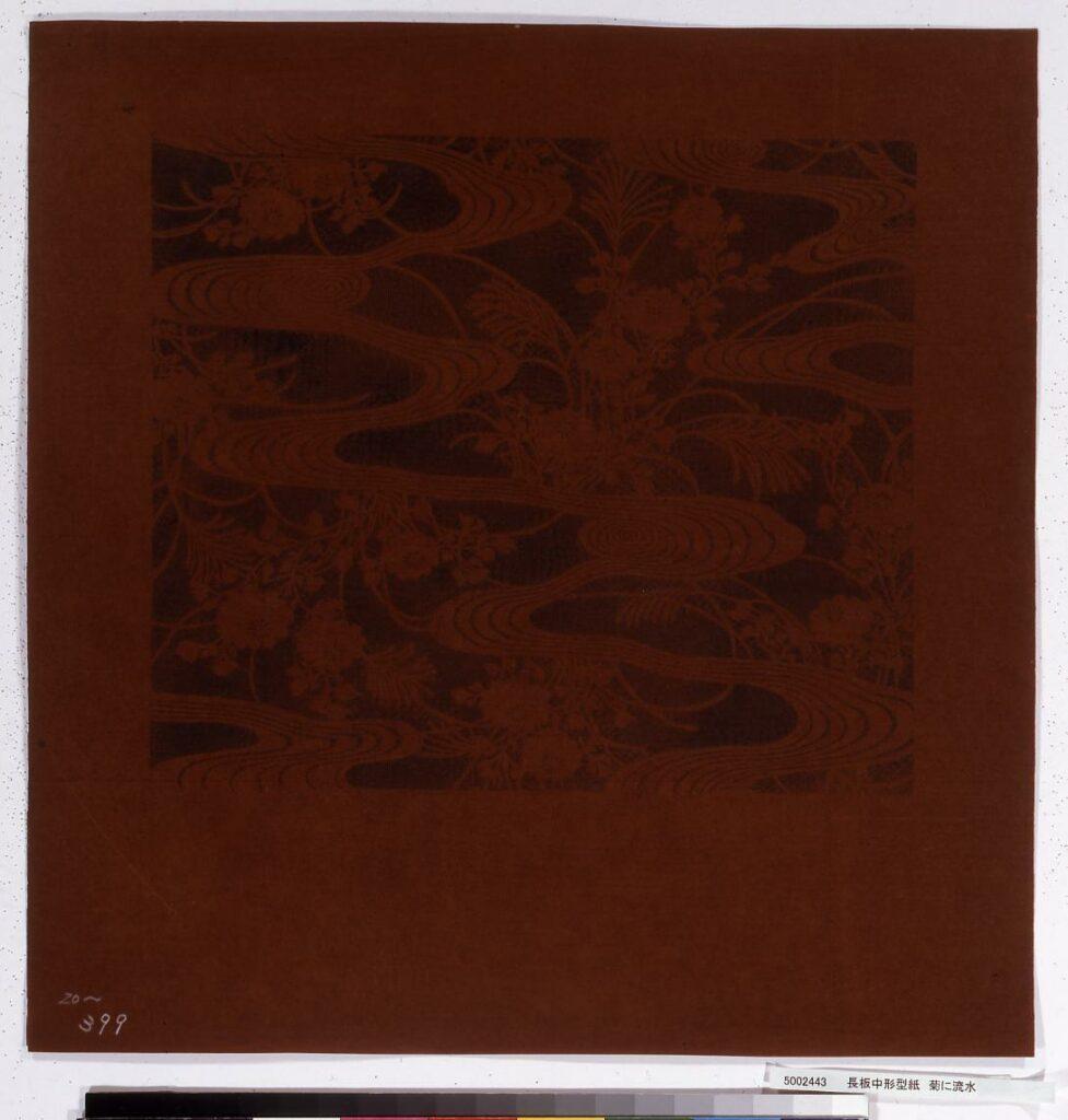 作品画像:長板中形型紙 菊に流水