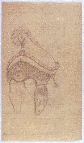 作品画像:下絵 「シーザーの剣と兜」(兜)