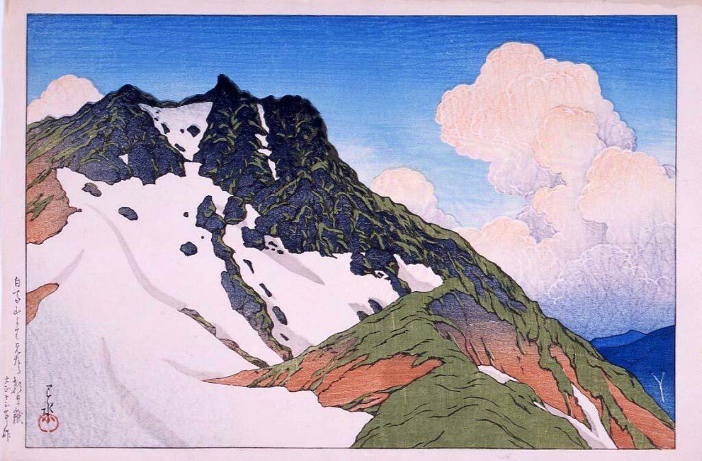作品画像:旅みやげ第三集 白馬山より見たる朝日嶽 試摺