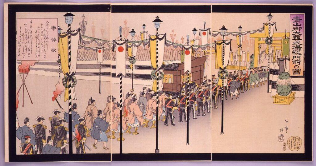 作品画像:青山御大葬式場総門前の図