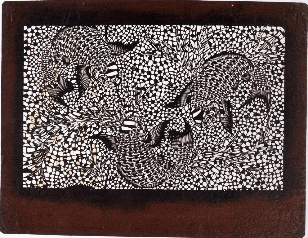 作品画像:長板中形型紙 笹に鯉 (小判 追掛)
