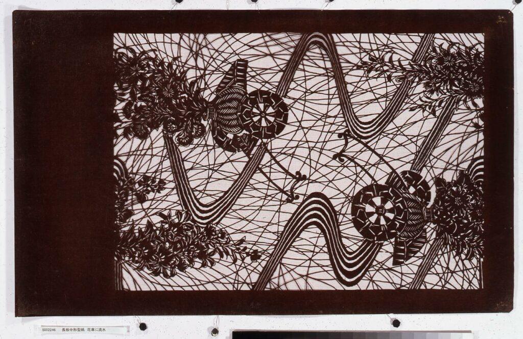 作品画像:長板中形型紙 花車に流水