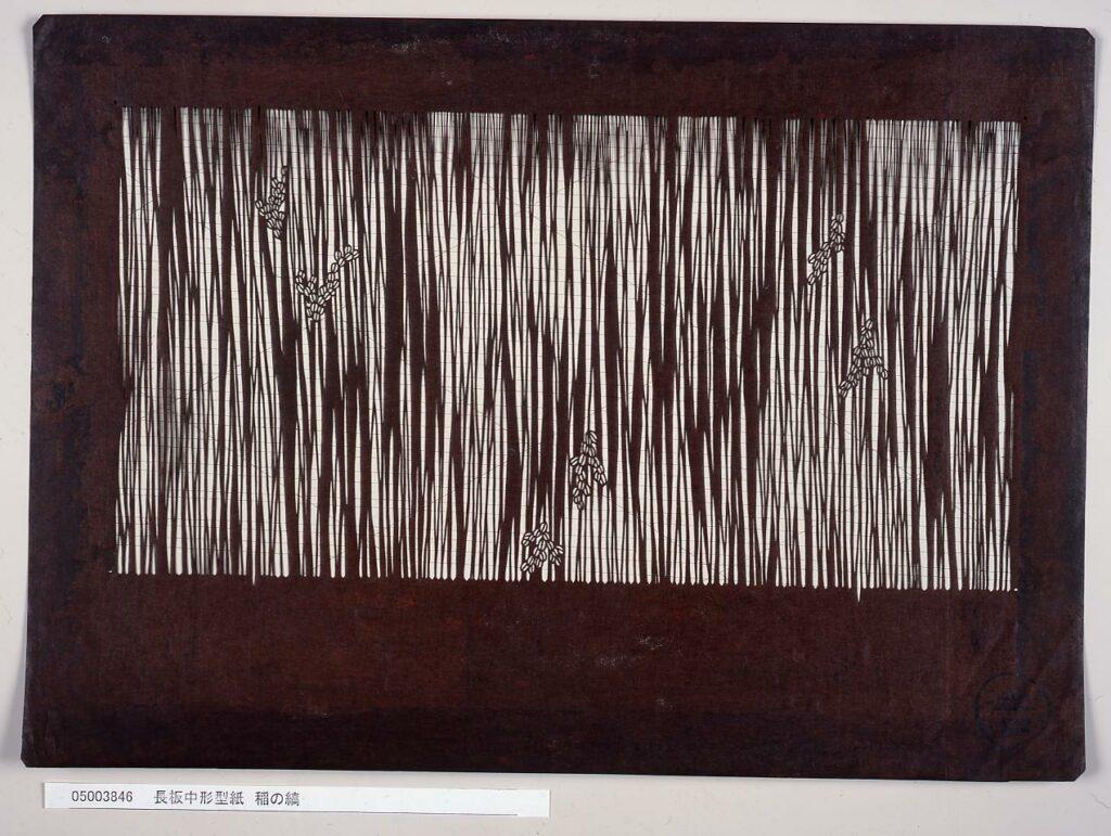 作品画像:長板中形型紙 稲の縞