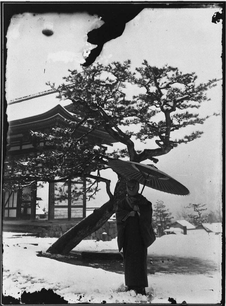 作品画像:雪の三門に立つ女性