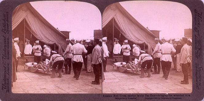 作品画像:Russian Red Cross service in the Far East―bringing the wounded toA temporary hospital.