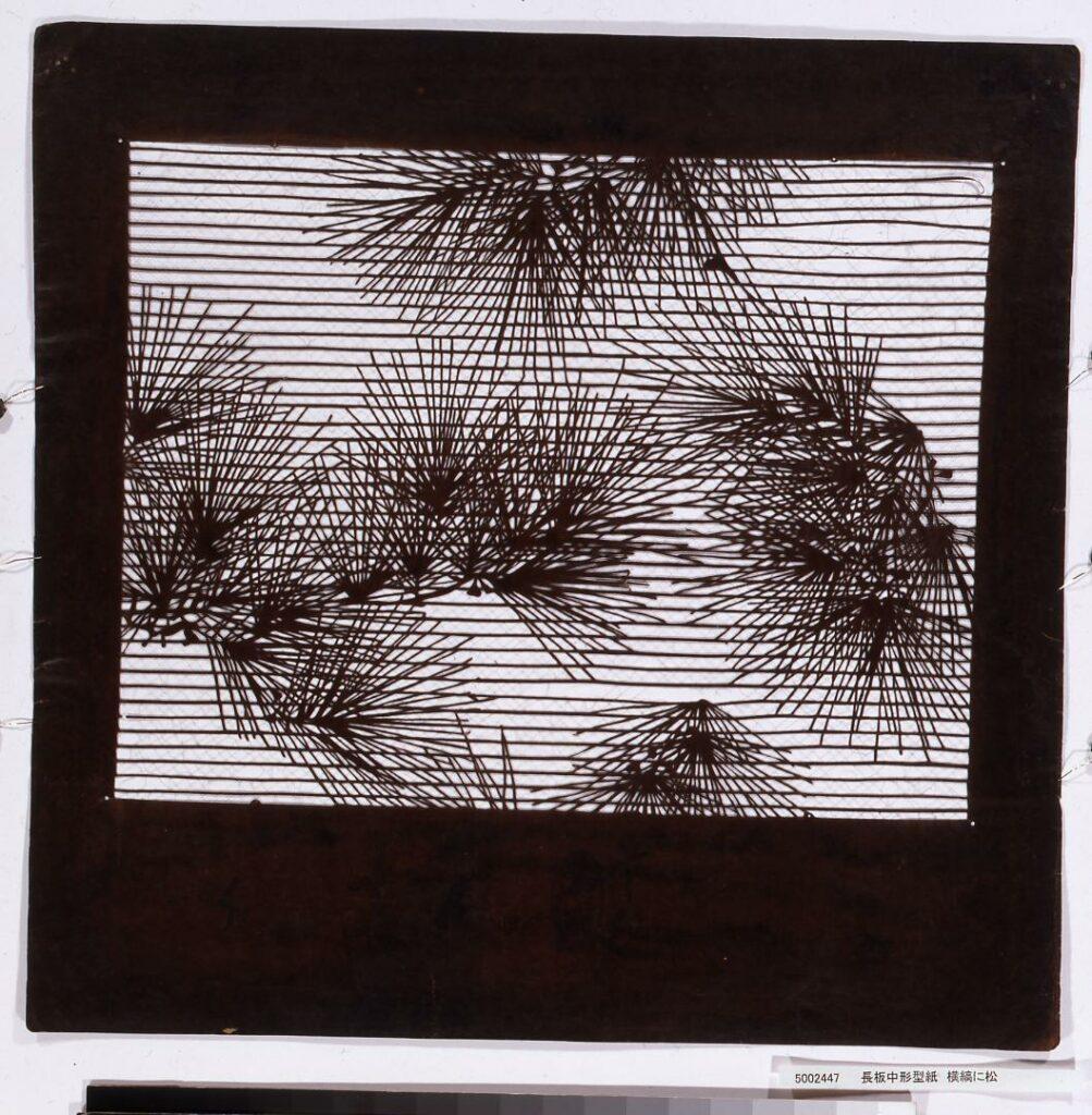 作品画像:長板中形型紙 横縞に松