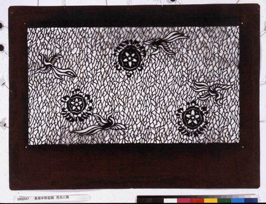 作品画像:長板中形型紙 花丸に鳥