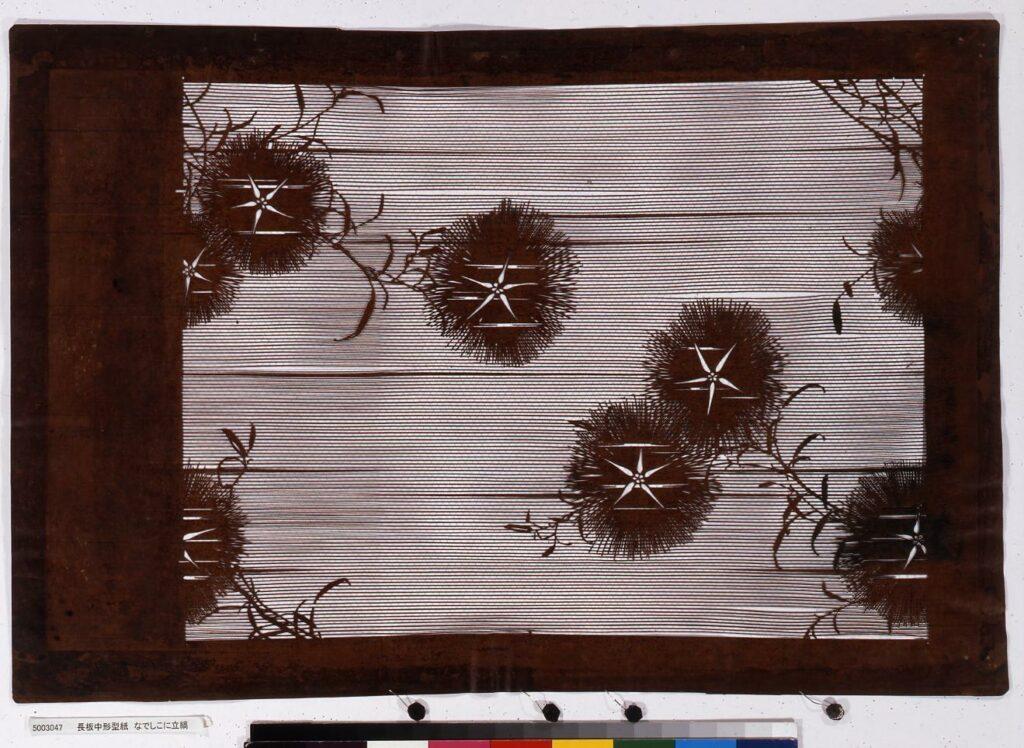 作品画像:長板中形型紙 なでしこに立縞