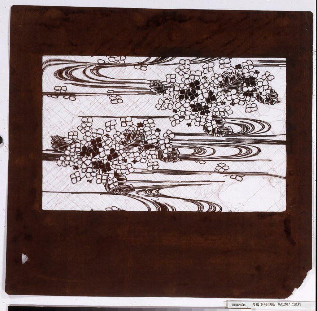 作品画像:長板中形型紙 あじさいに流れ