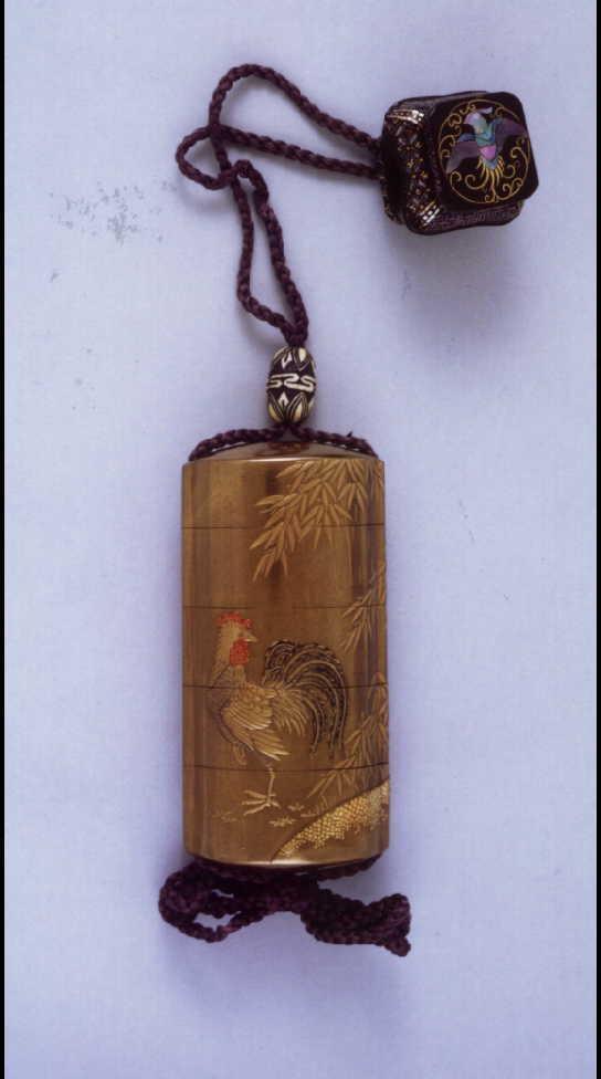 作品画像:鶏竹蒔絵印籠