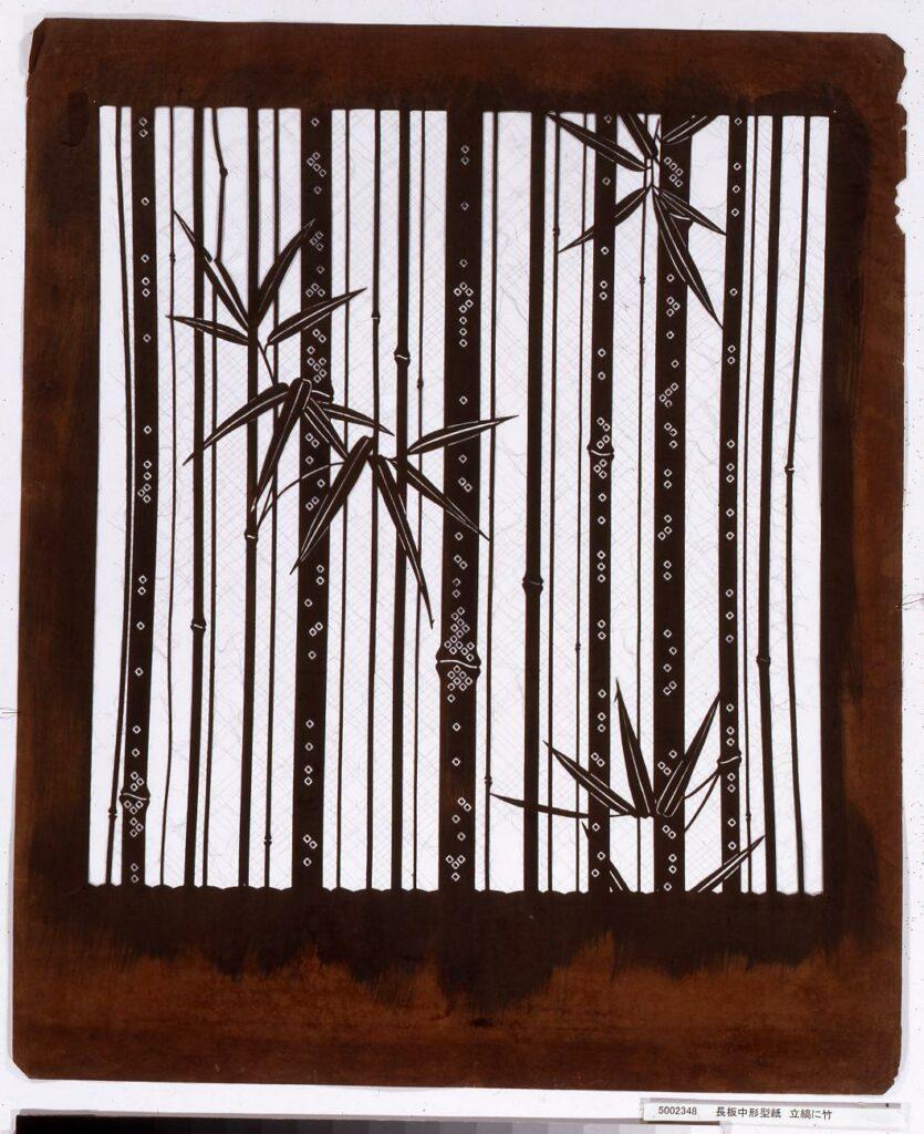作品画像:長板中形型紙 立縞に竹