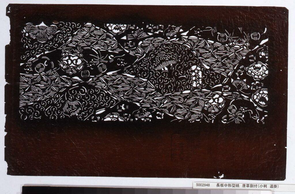 作品画像:長板中形型紙 唐草割付(小判 追掛)