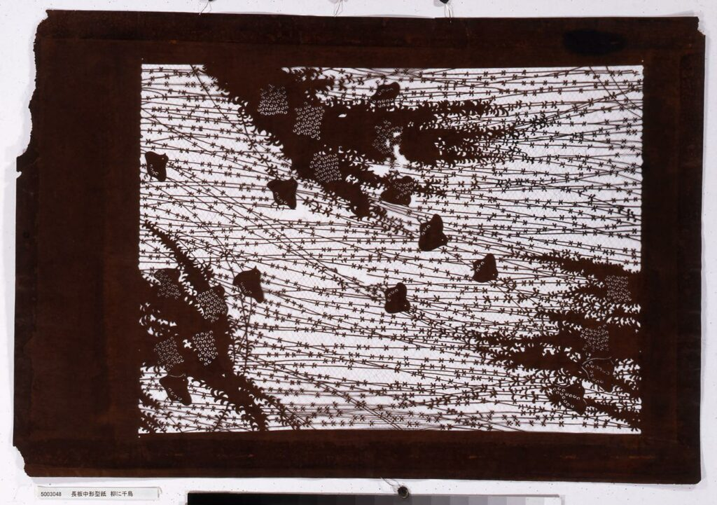 作品画像:長板中形型紙 柳に千鳥