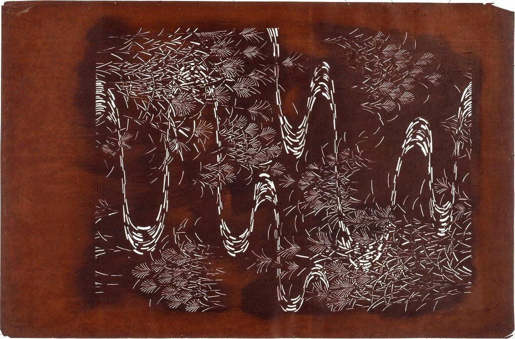 作品画像:長板中形型紙 すすきに流水(大判 追掛)