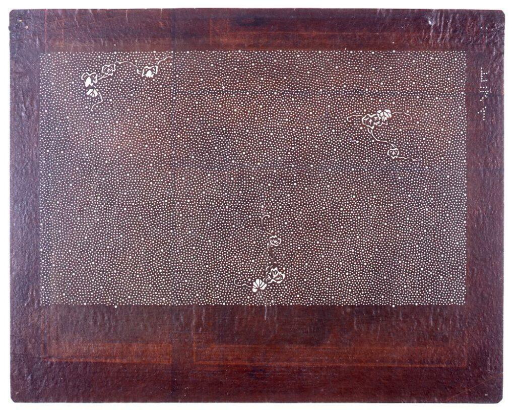 作品画像:長板中形型紙 蔦に大小あられ