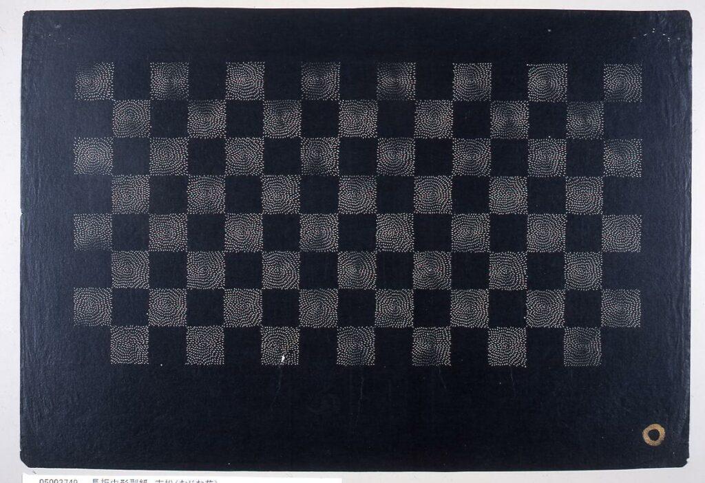 作品画像:長板中形型紙 市松(むじな菊)