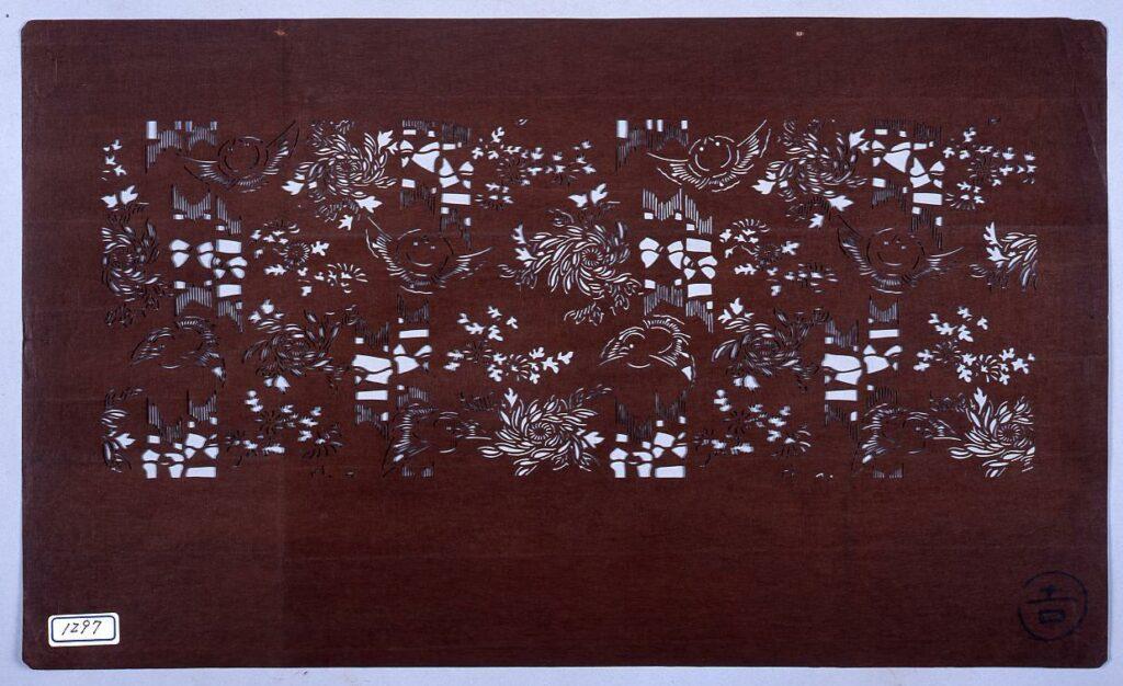 作品画像:長板中形型紙 竹に雀 (小判 追掛)