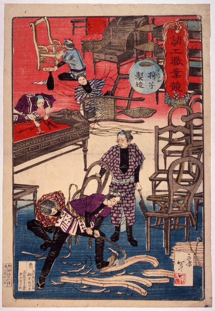 作品画像:諸工職業競 テエフル椅子製造