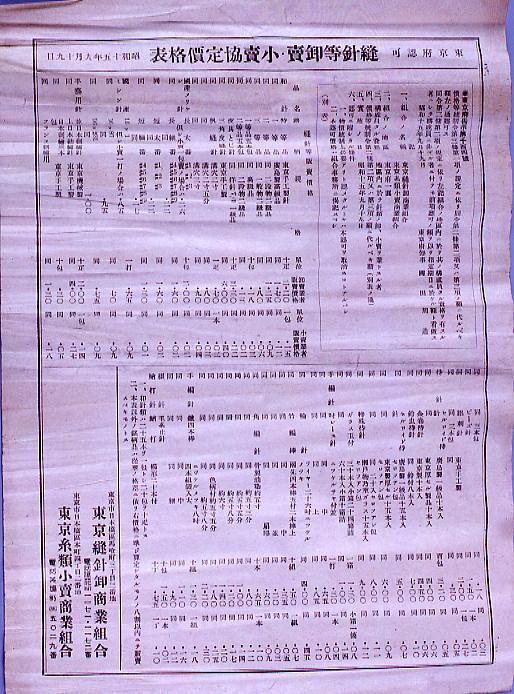 作品画像:東京府認可 縫針等卸売・小売協定価格表