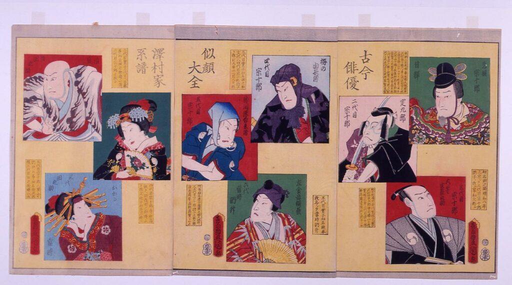 作品画像:古今俳優似顔大全 澤村家系譜