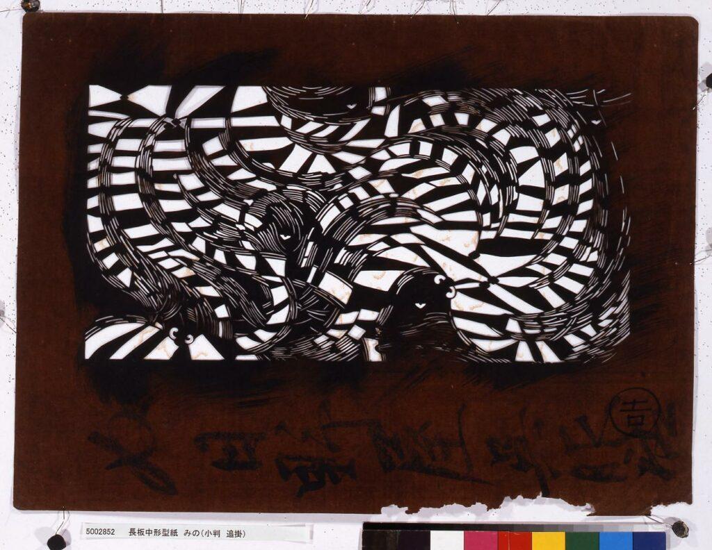 作品画像:長板中形型紙 みの(小判 追掛)