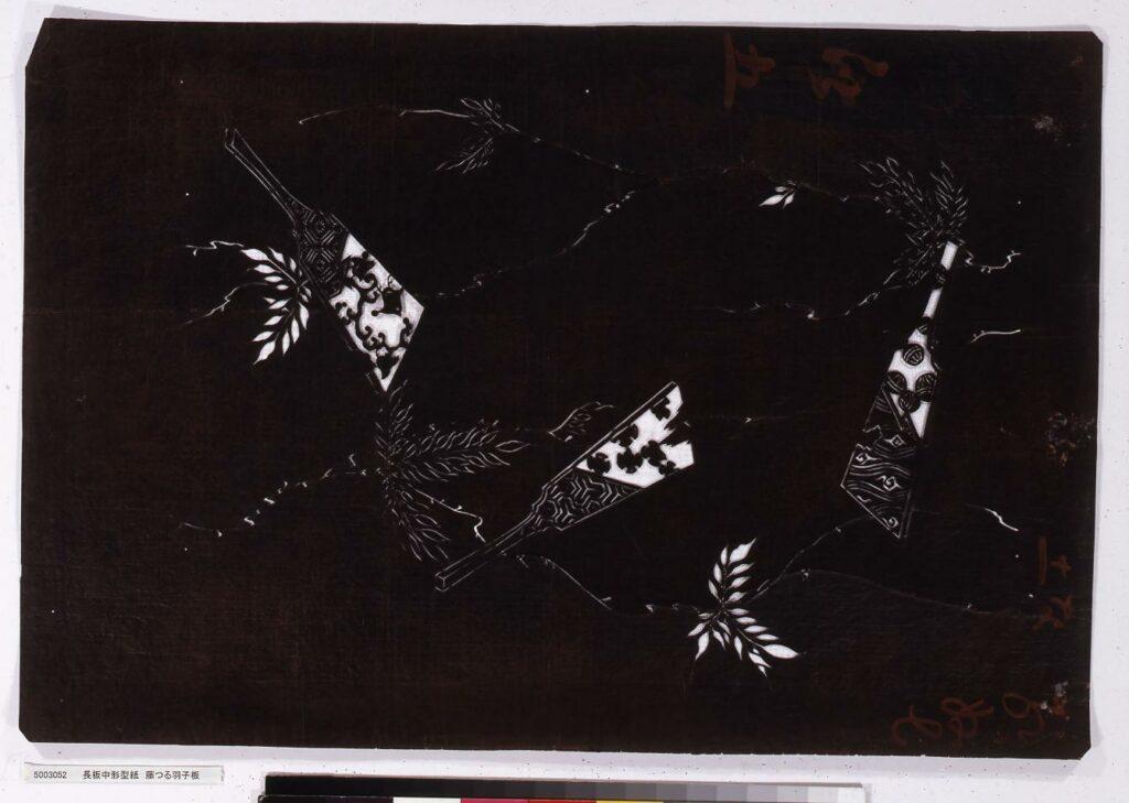 作品画像:長板中形型紙 藤つる羽子板