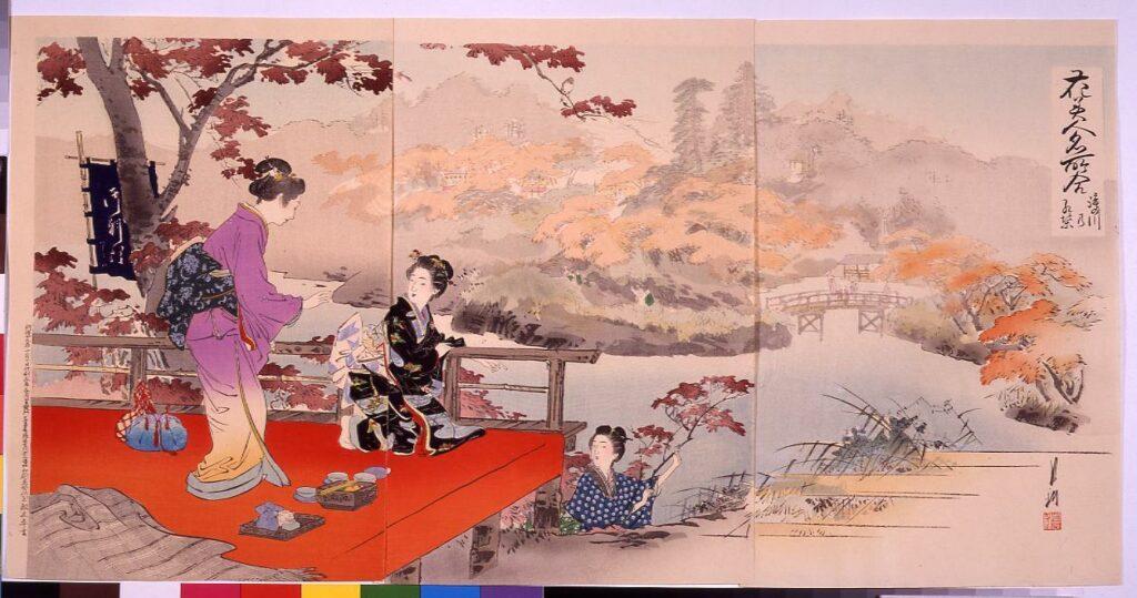 作品画像:花美人名所合 瀧の川の紅葉