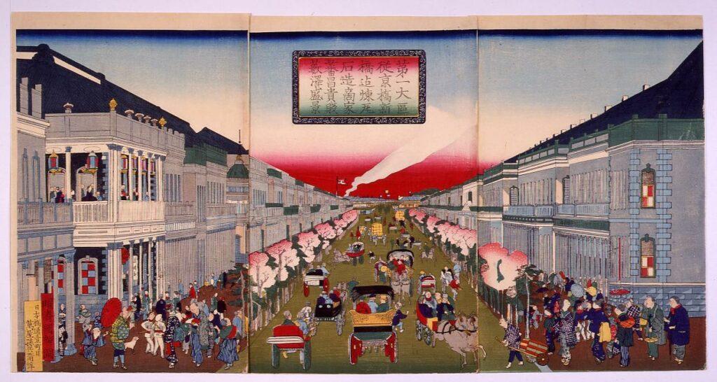 作品画像:第一大区従京橋新橋迄煉瓦石造商家蕃昌貴賎薮沢盛景