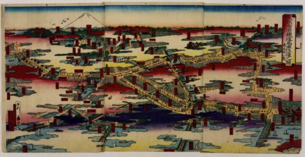 作品画像:東京市街鉄道馬車往復之図並ニ名所一覧