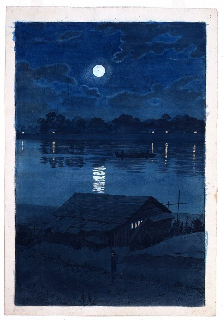 作品画像:東京二十景 荒川の月 原画
