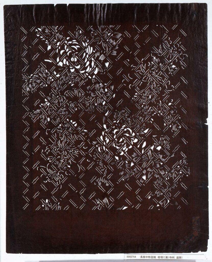 作品画像:長板中形型紙 桧垣に菊(中判 追掛)